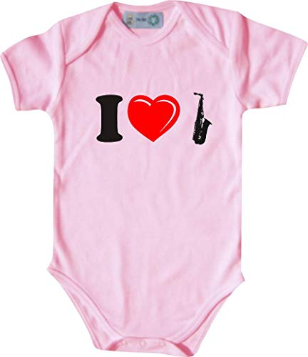 Unbekannt Lustiger Baby Body mit Druck/I Love Saxophone/Farbe: Babyrosa/Größe: 62-68 (3-6 Monate)