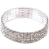 LovingtheBead © 4 Row base metal fashion stretchy bracelet with rhinestones 6.5inches