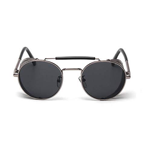 Xiton 1 STÜCK Retro Runde Steampunk Stil Sonnenbrille Mit Seitenschutz Vintage Polarisierte Sonnenbrille Leichte Metallrahmen Sport Sonnenbrille Uv-Schutz Sonnenbrille Für Mann Und Frauen (Schwarz)