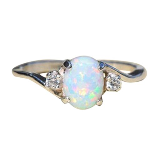 KEERADS Ring, 925 Silver Fashion Luxury Floral Transparent Diamond Crystal Rings Fashion Woman Jewelry (L 1/2, Opal)