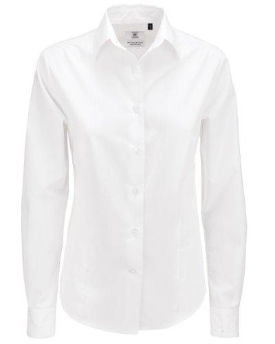 B&C Smart Poplin Damen Bluse, langarm (M) (Weiß) M,Weiß