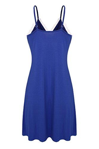 Ekouaer Femmes dentelle Chemise de nuit Longue robe de chambre sangle réglable nuisette sleepwear simple Bleu