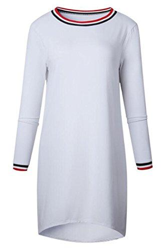 Issza Damen Casual Langarm Streifen Rand Dicke Minikleid Partykleid Abendkleid Einfarbig T-Shirt Kleid Passen Sie Ihr Eigenes T-shirt