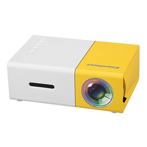 Excelvan YG300 - Mini LED Proyector Portátil (300x240P, 4: 3 16: 9, Soporta 1080P, Proyección 24'- 60', Altavoz Incorporada, Batería Externa, HDMI USB AV SD, Compatible con Móvil PC Xbox STB) Blanco y Amarillo