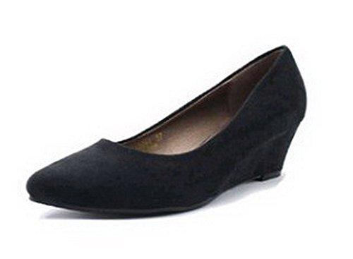 Senhoras Aalardom Fosco Bulbo De Vidro Dedo Apontado Puxar Salto Médio Em Bombas Sapatos Pretos