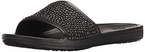 Crocs sloane embellished slide w, sandali a punta aperta donna, nero black 060, 37/38 eu