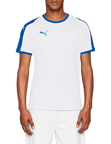 Puma Herren Liga Jersey T-Shirt, White/Electric Blue, M - Weiß Electric Fan
