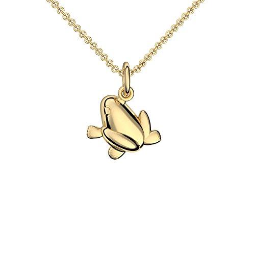 Frosch Kette Gold 333 + inkl. GRATIS Luxusetui + Froschanhänger Kette mit Frosch Anhänger Gold Goldkette Gelbgold 333er Tieranhänger Schmuck Halskette FF395 GG33345