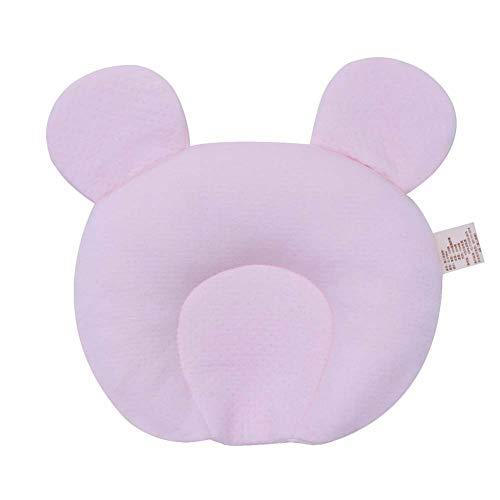 BIGLOVE Baby-Kopfstütze Headrest Safety Bed Pillow Flat Head Baby Pillow Prevention of Plagiocephaly,25x28cm,Rosa