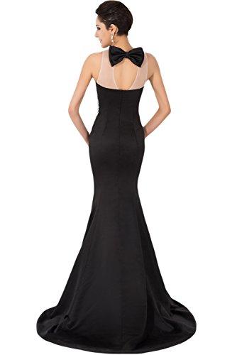 Gorgeous Bride populaire Sirène Satin tuell longue robe du soir ballon Vêtements Vêtements de mariée - Noir