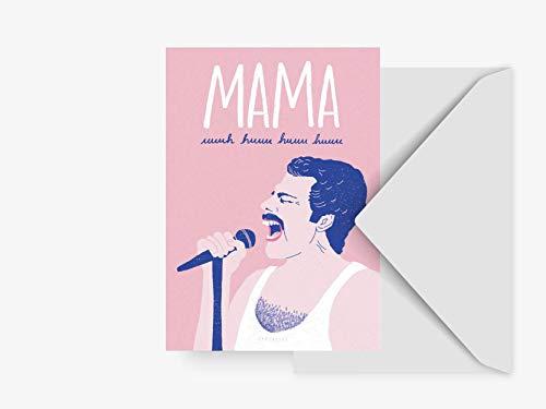 Postkarte - Mama - von typealive - Lustige Muttertagskarte mit grauem Umschlag und Queen Lyrics für Mütter