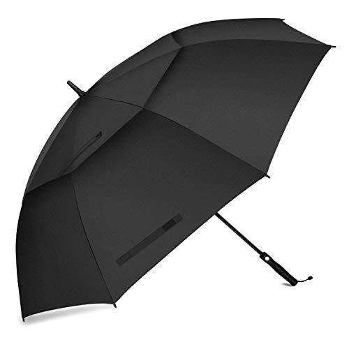 """Paraguas Tipo Golf, FIXM 68"""" Paraguas De Golf Automático, Doble Dosel, Ventilado Y Extra Grande, Impermeable, Antideslizante Y Duradero, A Prueba De Viento Y Lluvia, Y Resistente Al Sol (Negro)"""