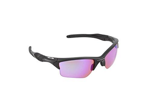 Oakley Herren Half Jacket 2.0 XL Sonnenbrille, Mehrfarbig (Gestell: schwarz; Gläser: Green-Violet Mirrored 9154-49), Large (Herstellergröße: 62)