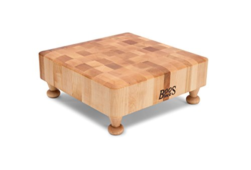John Boos Raised Maple Wood Square End Grain Chopping Block with Tapered Feet, 12 Inches x 12 Inches x 3 Inches Square End Grain Cutting Board