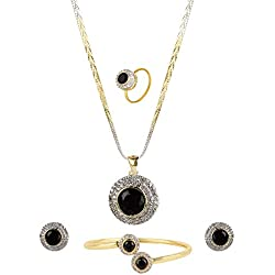 Blulune American Diamond SLITAIRE Studded Pendant (18 INCH Chain) with Earring Combo Set for Women and Girls Guaranteed (Design 1)
