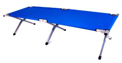 Brandina militare pieghevole in alluminio, ideale per campeggio e come letto per gli ospiti, blau, 195 x 65 x 45 cm