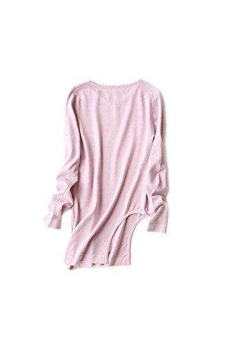 Élasticité irrégulière chandail manches Yacun féminines longues pink