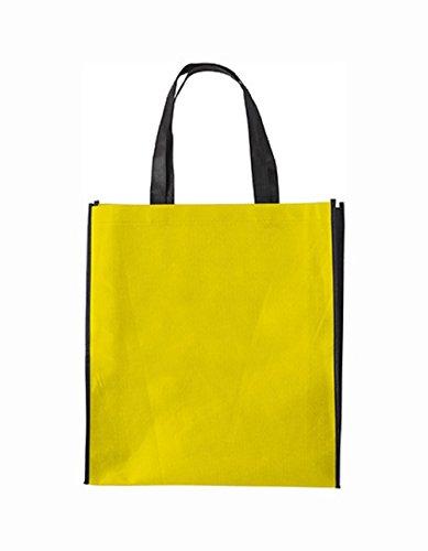 10 bedruckbare Einkaufstaschen aus 100% Polypropylen inklusive 8 cm Boden und Seitenfalte, 38 x 42 x 10 cm (Yellow)