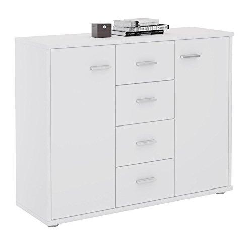 CARO-Möbel Sideboard Jamie Kommode Büromöbel mit 2 Türen und 4 Schubladen in weiß