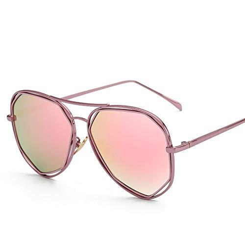 Easy Go Shopping Frauen-Metallbein-große runde Rahmen-Klassische Weinlese-Art-UVschutz-Art und Weise polarisierte Sunglasse für Sonnenbrillen und Flacher Spiegel (Color : Rot, Size : Kostenlos)