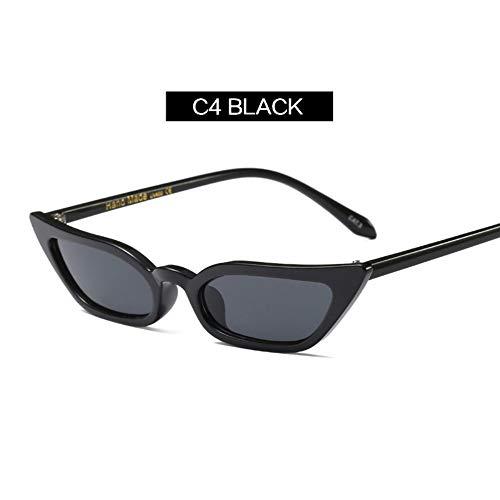 MOJINGYAN Sonnenbrillen,Frauen Retro Cat Eye Sonnenbrille Gelb Lila Kontaktlinsen Sonnenbrille Designer Brille Für Weibliche Uv 400 Schwarz (Kontaktlinsen Designer,)