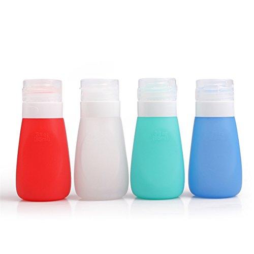 JasCherry Botella Portátil de Viaje de Silicona - Color aleatorio - Contenedores para Champú, Bálsamo, Crema de Baño, Loción etc - 4 Pzs / 86 ml