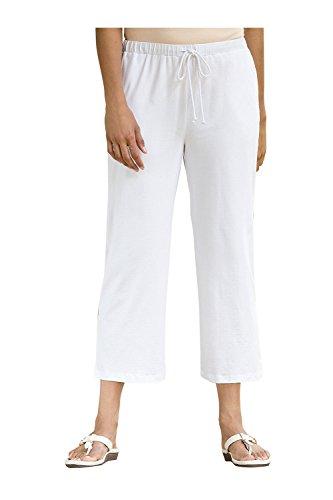 Ulla Popken Damen große Größen 3/4-Jerseyhose weiß 50/52 701161 20-50+