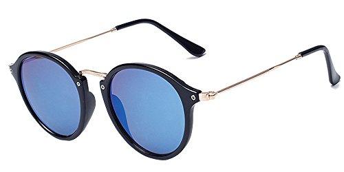 BOZEVON Retro runde Sonnenbrille Herren Damen Metall Eyewear Schwarz-Blau