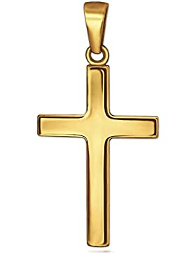 CLEVER SCHMUCK Goldener Anhänger Kreuz 24 mm schlicht glänzend 333 GOLD 8 KARAT