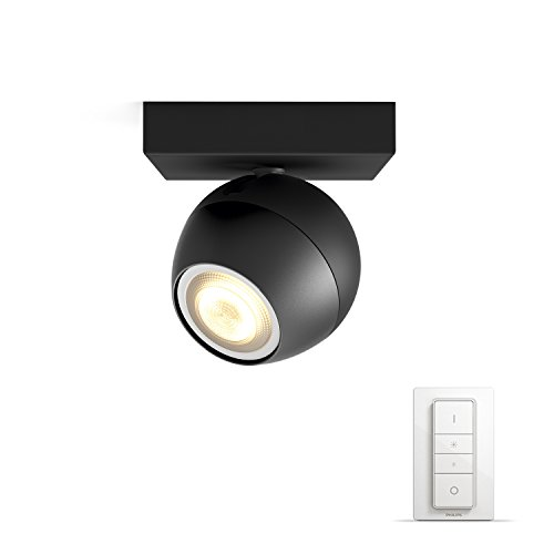Philips Hue LED Spot Buckram inkl. Dimmschalter, dimmbar, alle Weißschattierungen, steuerbar via App, schwarz, kompatibel mit Amazon Alexa (Echo, Echo Dot)