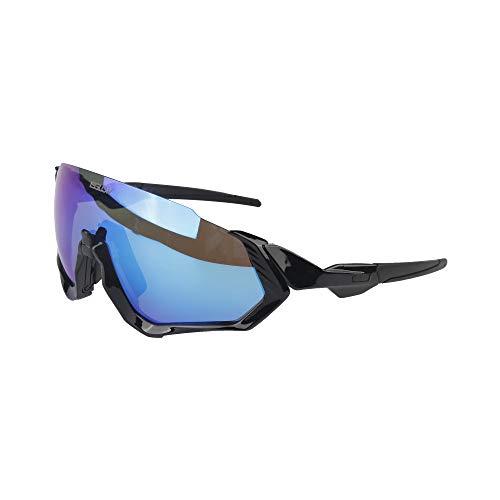 Gafas ciclismo hombre. Polarizadas Flight Jacket. 3 Lentes intercambiables,antivaho, resistentes a impactos.Protección UV400. Ideales para Running, Esquí, Golf, mtb, Triatlon, Ciclismo (negro)
