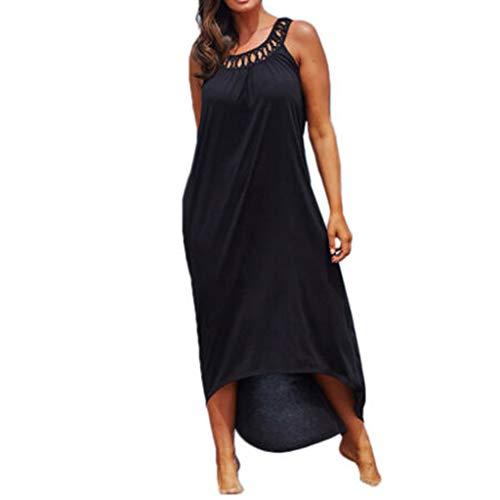 Ninasill Hot!Hohl schulterfreie Urlaubskleider, unregelmäßig, einfarbig, zum Aufhängen, langer Hals, große Größe Asian XXL= USXL schwarz - Flanell Mini Rock