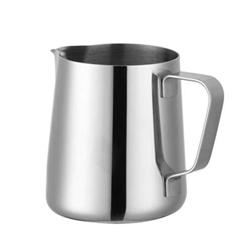 Espresso Dampfende Milch (Espresso Steaming Pitcher 400Ml / 14Oz Edelstahl Rostfreier Espresso-Milchaufschäumkrug mit Großem Fassungsvermögen für Latte Art)
