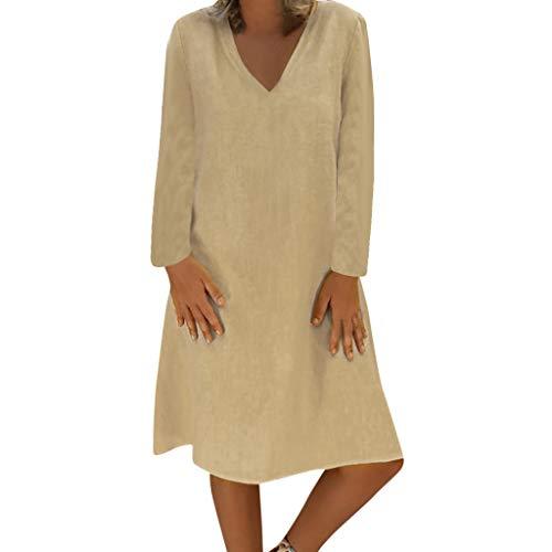 Damen Plue Größe Lose Solide Langarm Baumwolle Leinen Knielanges Kleid Langärmliges, Einfarbiges, Weites Kleid - Strand Crewneck Sweatshirt
