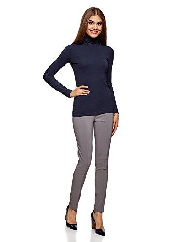 oodji Ultra Damen Langarmshirt Basic mit Rollkragen (2er-Pack) Blau (7900N)