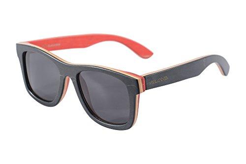 SHINU Handgefertigte Holz Brille Bambusholz Sonnenbrille Polarisierte Bambusrahmen und Tempel mit Case-Z68003(black-red, grey)