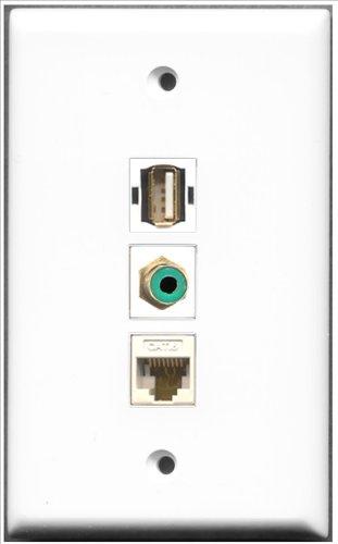 RiteAV-1Port RCA grün und 1Port USB A-A + 1Port Cat6Ethernet weiß Wall Plate Rca Modular Wall Outlet