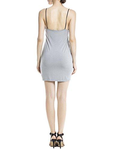 iB-iP Damen Baumwolle Spaghettiträger Nahtlose Kleides Mini Unterkleid Hellgrau
