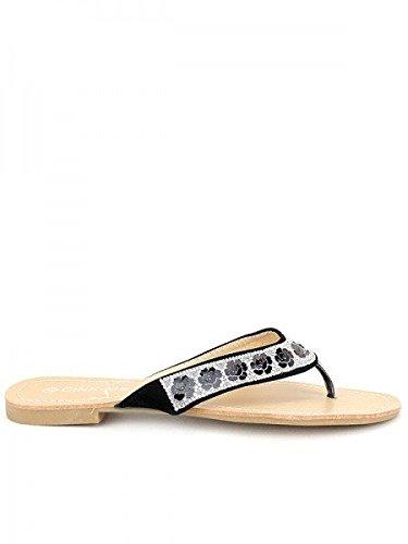 Cendriyon, Tong Noir SHANA Strass Chaussures Femme Noir