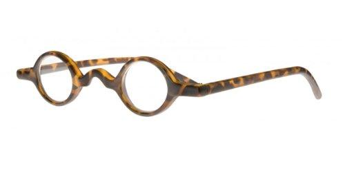 Lesebrille mit kleinen runden Gläsern demi braun +2