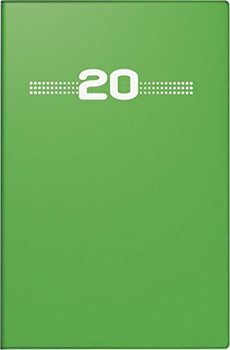 rido/idé 701520201 Taschenkalender partner/Industrie I (2 Seiten = 1 Woche, 72 x 112 mm, Kunststoff-Einband, Kalendarium 2020) grün