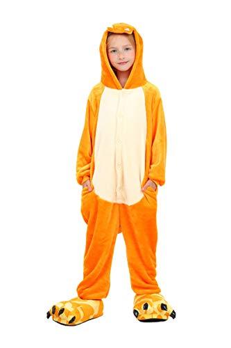 UMIPUBO Animale Cosplay Pigiama Anime Halloween Costume Pigiama Tutina Costume Bambino (Scarpe non incluse) (XL (H:130-135cm), Drago di fuoco)