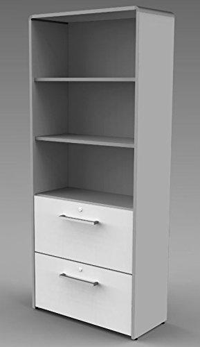 MODUS Kombischrank 5OH Aktenschrank Büroschrank Schrank Türenschrank Lichtgrau/Weiß