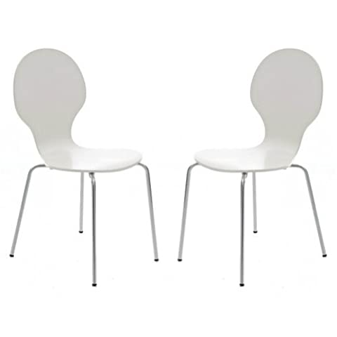 Set of 2 Kimberley White and Chrome Metal Keeler Style Stackable Dining Chairs - Kitchen Cafe Bistro Stacking Chairs by Your Price Furniture