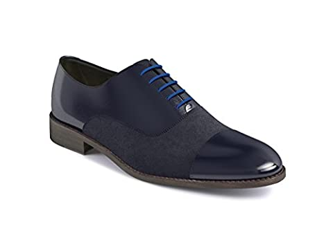 DIS - Totò - Men's Oxford Toe Cap (Calf Suede Blue, 52.5)