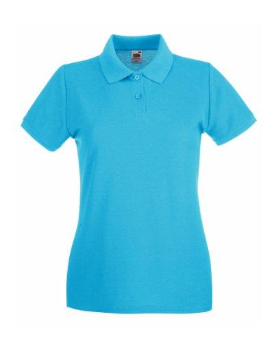 Fruit Of The Loom Damen Poloshirt, Kurzarm Blau - Azurblau