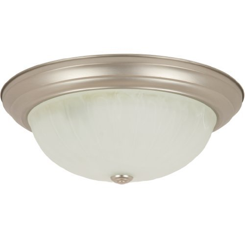 Alabaster Finish (Sunlite DBN15/AL 15-Inch Dome Ceiling Fixture, Brushed Nickel Finish with Alabaster Glass by Sunlite)