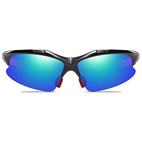KJDFN Radfahren Sport Anti-Glare-PC-Material Sonnenbrille Schwarzer Rahmen Grau/Blau Grüne Linse Männer Und Frauen Mit Der Gleichen Polarisierten Reitbrille Trend (Farbe : Blue Green)
