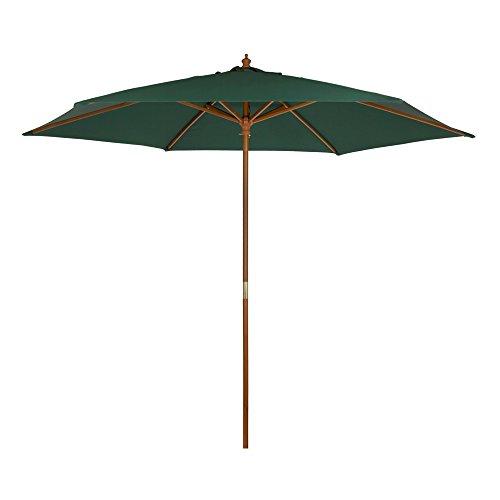 Aktive Garden Parasol Hexagonal con mástil de Madera de 36 mm, Verde, Diámetro 300 cm