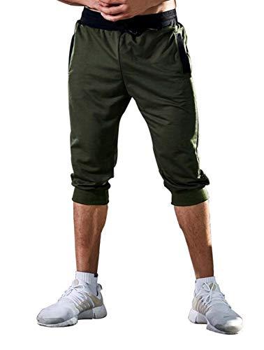 ASKSA Herren Kurze Hose Shorts Sweatshorts Sportshorts 3/4 Jogginghose Slim Fit Jogger Hosen Bermuda (Armeegrün, M) - 3/4 Sweat